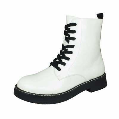 Combat Punk Biker Ankle Boots White