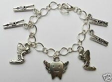 TOOTHY PEGS TOOTH FAIRY SILVER TONE HANDMADE CHILD'S CHARM BRACELET CHOICE 15CM
