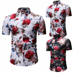 Luxury-Men-039-s-Short-Sleeve-Shirts-Casual-Stylish-Formal-Slim-Fit-Shirt-Top-M-3XL