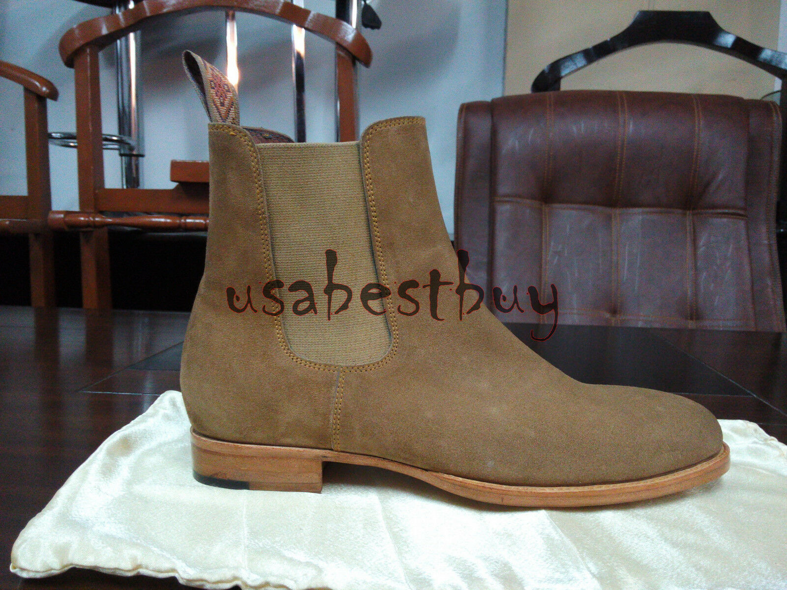 New Latest Handmade Handmade Handmade Uomo Beige Chelsea Suede Leather stivali in GoodYear Welted 869ac6