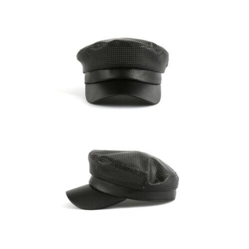 Unisex Mens Perforation Greek Fisherman Cap Sailor Seaman Mariner Hats Black