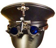 Steampunk Leather look Military Hat With Optical Goggles In Blue Lens 57,58,59cm