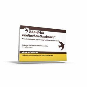 Brillant Röhnfried Gambamix 60 Comprimés (contre Bouton Jaune-adapté Pour Pigeons)-afficher Le Titre D'origine Renforcement Des Nerfs Et Des Os