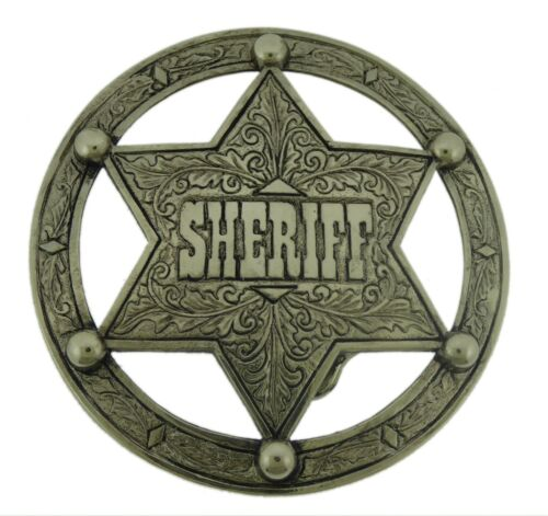 Star Belt Buckle Texas Sheriff Badge Mens Cowboy Western  AZTEC BRUSHED VINTAGE