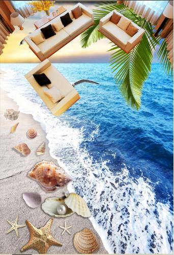 3D Dusk Seagull Beach 78 Floor WallPaper Murals Wall Print Decal AJ WALLPAPER US