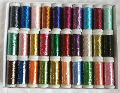 30 Metallic Embroidery Threads Spools 30 different Colors 400 yards each spool