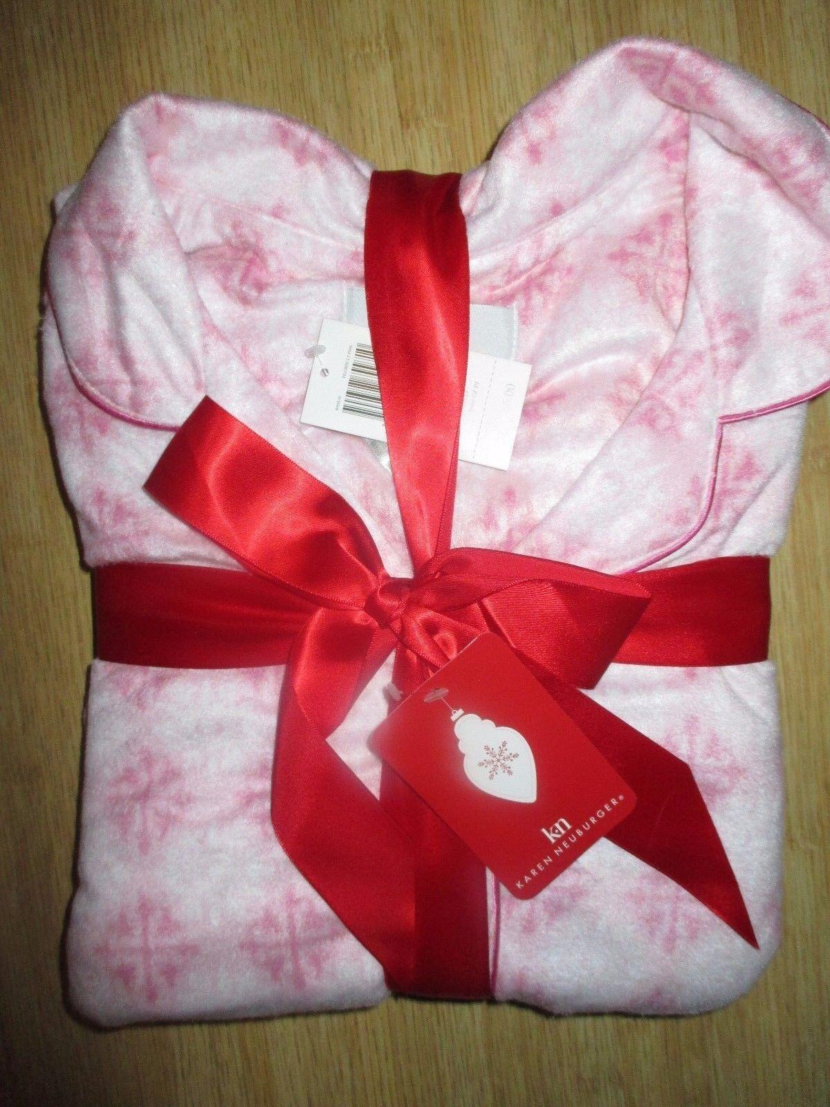 NEW KAREN NEUBURGER XL FLEECE Pajamas L S PJ's LONG PANTS SOFT COZY PINK