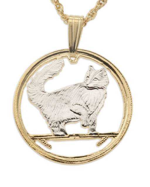 """Cat (Norwegian Forest) Pendant & Necklace Isle Of Man Coin 3/4""""dia. ( # 662 )"""