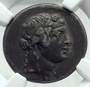 PANTIKAPAION-in-BOSPORUS-90BC-Authentic-Ancient-Greek-Coin-w-DIONYSUS-NGC-i79642
