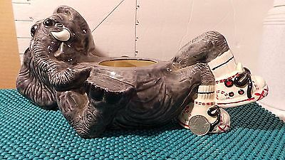 Elephant in Sneakers Planter,Glazed Ceramic, Funny, Pop-A-Top Ceramics, Akron OH