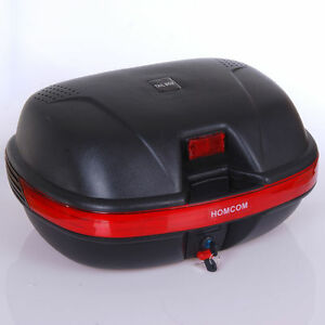 Baúl Moto Universal Negro Trasera 44L Llaves + Soporte Topcase Caja de Casco