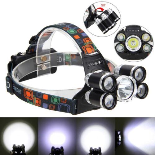 90° 50000LM 5X XM-L T6 LED Scheinwerfer Stirnlampen Kopflampe USB 18650 Akkru