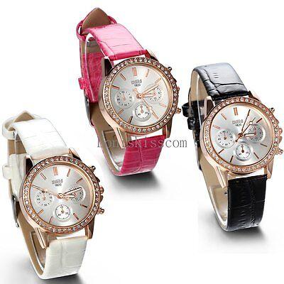 Leather Band Bracelet Round Quartz Analog Casual Ladies Wrist Watch Fashion New