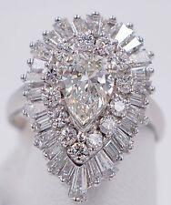 Platinum Ballerina Diamond Pear Ringdant Ring Pendant 3.44 Carat Total Wt