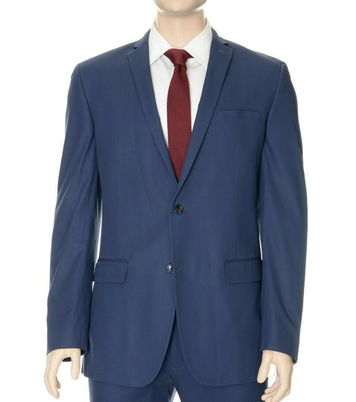 Bar III Slim Fit Solid Blau Two Button Cotton Blend Blazer Sportcoat 40L