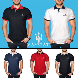 Homme-Maserati-Polo-Shirt-COTON-Auto-Voiture-Logo-Brode-T-Shirt-Tee-vetements
