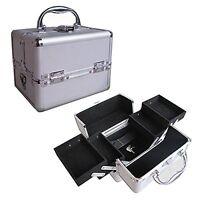 "8"" Pro Aluminum Makeup Train Case Jewelry Box Cosmetic Organizer Silver 4 Trays"