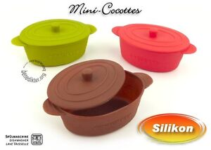 silikon mini cocottes mit deckel gratin form auflaufform cocotte ebay. Black Bedroom Furniture Sets. Home Design Ideas