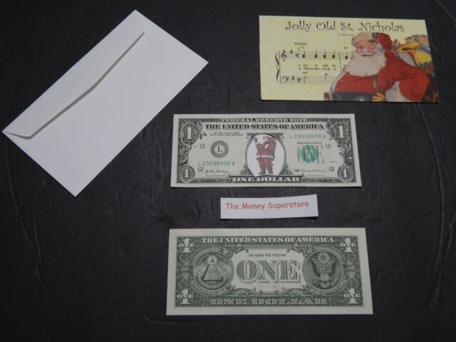 SANTA CLAUS U.S. $1 ONE DOLLAR BILL NEW MONEY WHITE BACKING ITEM #99 SOLD AS SET