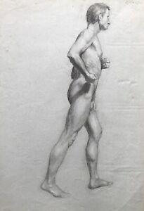 Dibujo-Entrante-Masculino-Desnudo-Macho-Caminando-Firmado-Krause-Estilo-Moderno
