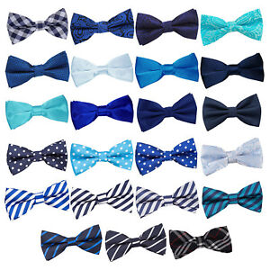 DQT-Bleu-Homme-Bow-Tie-Solid-Plain-Plaid-Motif-Floral-Paisley-Polka-Dot-Tartan