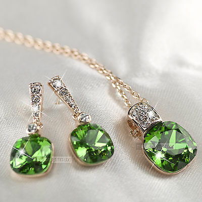18k rose gold gf made with SWAROVSKI crystal green stud earrings necklace set