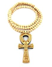 """NEW ANKH CROSS GOOD QUALITY WOOD PENDANT 8mm/36"""" WOODEN BEAD NECKLACE XJ224"""