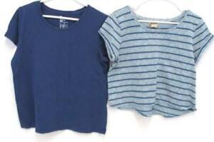 Lot-of-2-Women-039-s-Short-Sleeve-Tops-Mudd-Gap-Blue-Striped-Size-Large