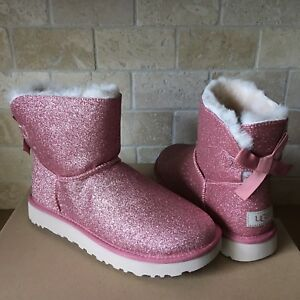 2d929fff81d Details about UGG MINI BAILEY BOW SPARKLE GLITTER PINK BOOTS SIZE US 9  WOMENS