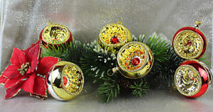 6-mundgelasene-exklusive-Reflexkugeln-Rot-Gold-6cm-Christbaumschmuck-Lauscha