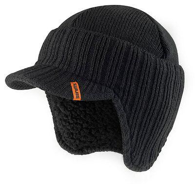 Scruffs Peaked Beanie Hat Grey Insulated Warm Thermal Winter Stylish Peak Cap