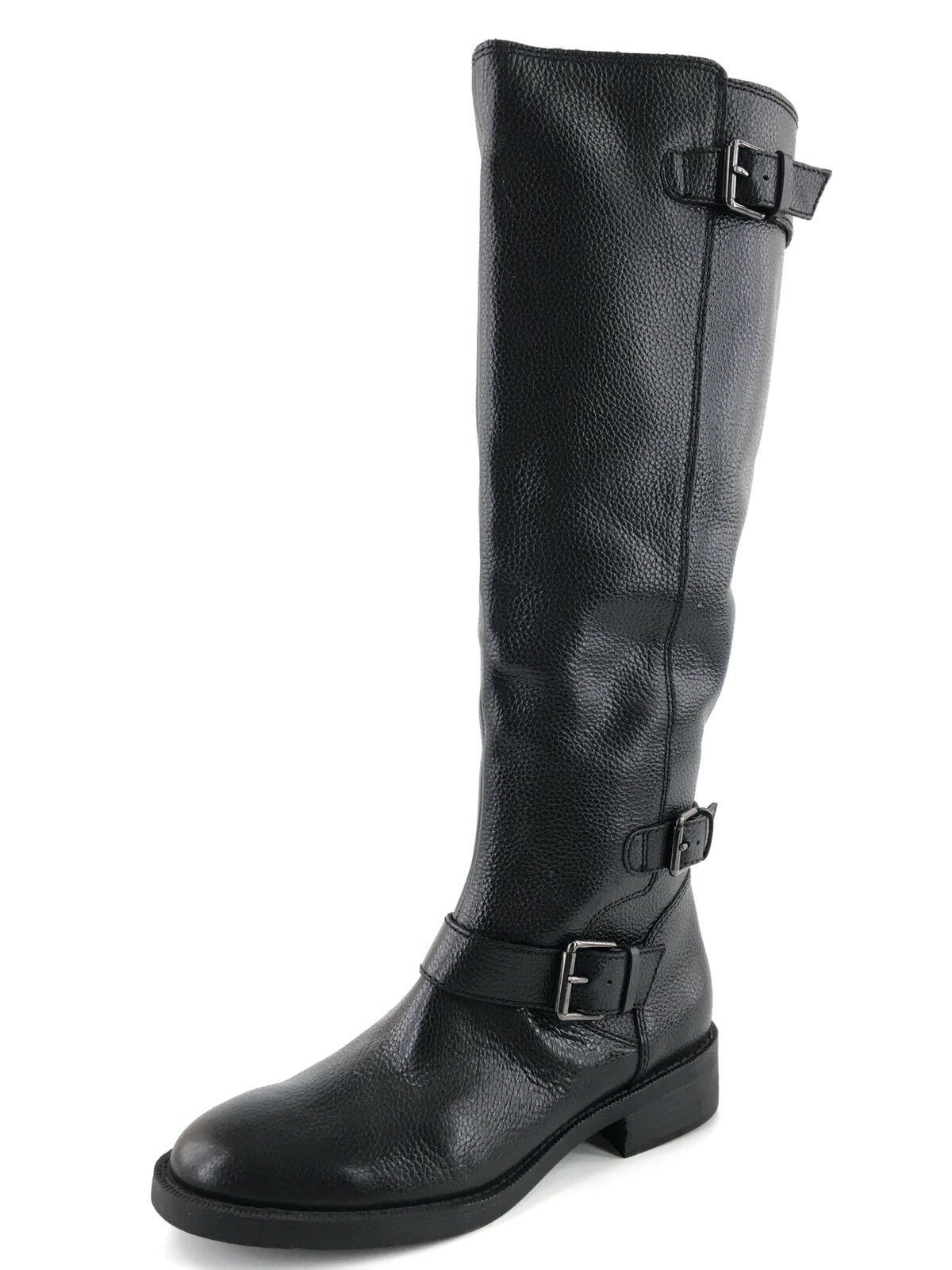 New Enzo Angiolini Sayin Black Leather Knee High Riding Boots Womens Size 7 M *