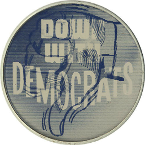 2504 1960s Johnson Goldwater Era DOWN WITH DEMOCRATS Vintage Flasher Button