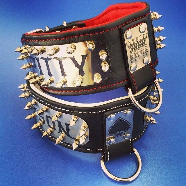 Cuir véritable collier de  en, personnalisé, acier inox, 7.1cm largeur L-XXL
