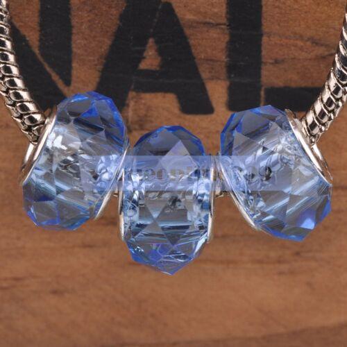 10Pcs Washer à facettes Charms Lampwork Verre Grand Trou Perles Européennes Bracelet