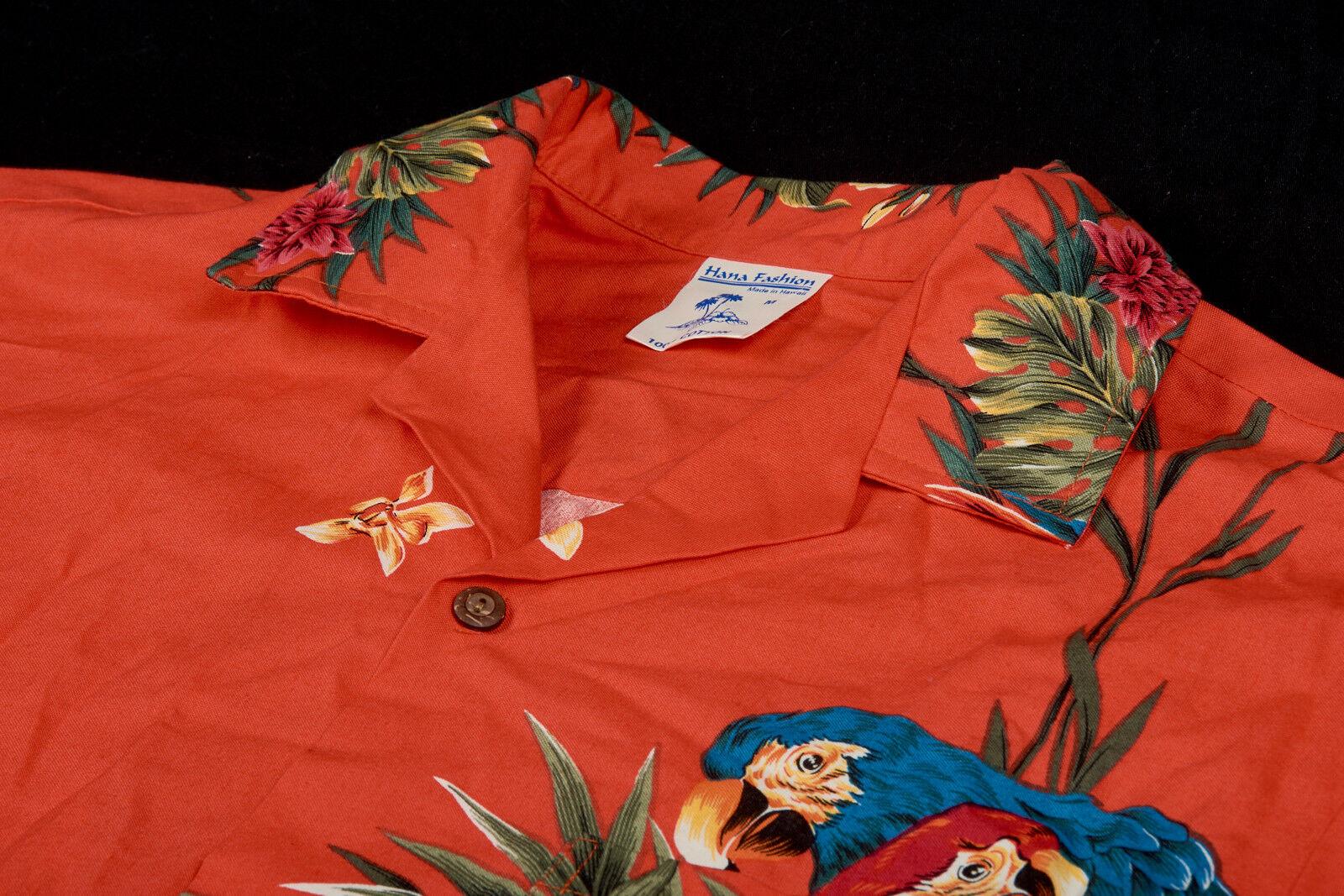 Vintage Herren Hana Modisches Hemd M in Persimmin Orange Hawaii Papageien  | Perfekte Verarbeitung