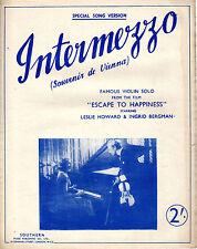 SHEET MUSIC - INTERMEZZO/SOUVENIR DE VIENNA - VIOLIN SOLO - INGRID BERGMAN((1941