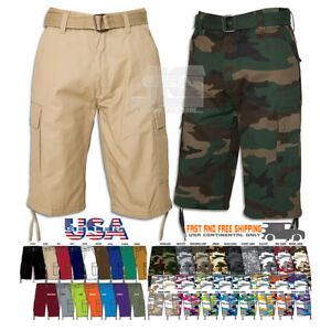 c480210b4c Image is loading Men-Regal-Wear-Solid-Camouflage-Belted-Cargo-Shorts-