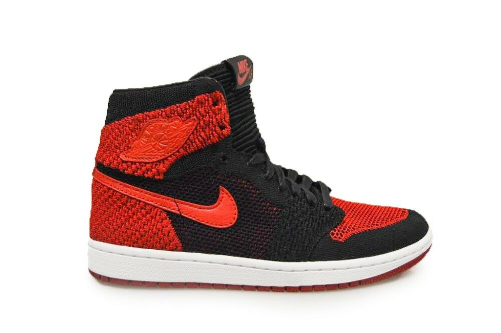 Mens NIke Air Jordan 1 Retro Hi Flyknit - 919704 001 - Black Varsity Red White