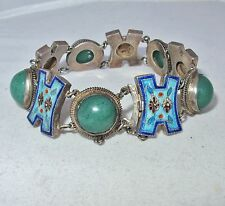 "Antique Chinese Sterling Silver Bracelet with Enamel & Green Jadeite (7.3"" long)"