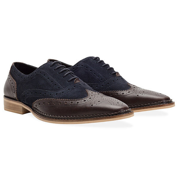 Redfoot Gatsby Jay Navy & Brown Brogue Lace Up Formal Wedding shoes UK 11
