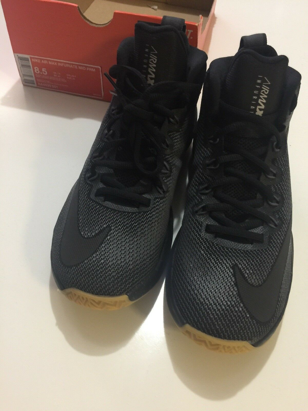 NIKE AIR MAX INFURIATE MID PRM MENS SHOES AA4439 001 001 001 Size 8.5 WITH BOX No Top d1580e