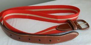 VTG-LAND-039-S-END-cloth-stripe-leather-trim-belt-made-in-England-preppy-Mens-38
