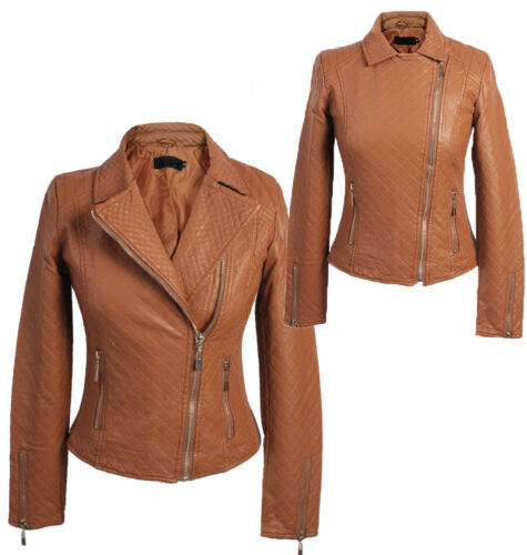 M XL-803 L NEW WOMENS QUILTED FAUX PU LEATHER BIKER JACKET LADIES SIZE S