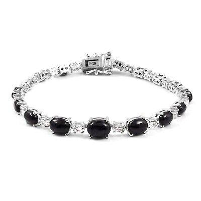 Silver Ruby And White Topaz 16ct Bracelet