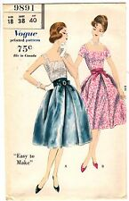 """Vintage 1950s Vogue Sewing Pattern Women's 2 PC DRESS 9891 Sz 18 Bust 38"""" UNCUT"""