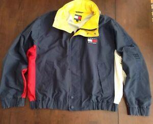 08dc32e63 Vtg Tommy Hilfiger sail yacht jacket color block hidden collar 90's ...