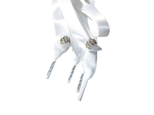 Silver Crystal Shoe Charms On 120cm White Ribbon Shoelaces For Crystal Trainers