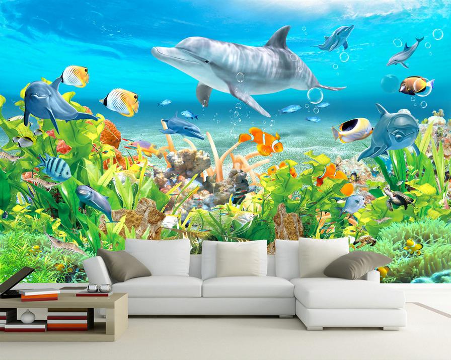 3D Dolphin Marine Seaweed 8 Wallpaper Mural Paper Wall Print Wallpaper Murals UK