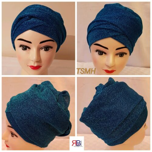 Luxury Women/'s Stretchy Velvet Ruffled /& Sparkly Mesh Turban//Head Wrap